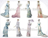 Victorian Ladies 04 atc aceo digital collage sheet png files