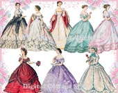 Beautiful gowns 02 vintage ladies ATC ACEO scrap collage sheet png files