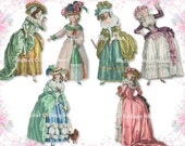 Marie Antoinette 03 digital collage paper dolls sheet png cutouts