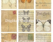 Butterfly Postcards no 015 ATC ACEO backgrounds Collage scrap sheet Buy 3 get 1 Free