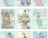 Vintage Costumes no 030 ATC ACEO cards digital Collage scrap sheet Buy 3 Get 1 free