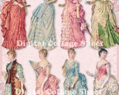 Bustle Dresses 04 vintage ladies ATC ACEO scrap collage sheet paper doll png files