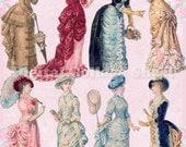 Bustle Dresses 05 vintage ladies ATC ACEO scrap collage sheet paper doll png files