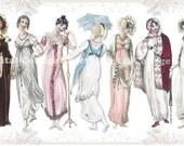 Regency Ladies 02 vintage ladies ATC ACEO scrap collage sheet paper doll png files