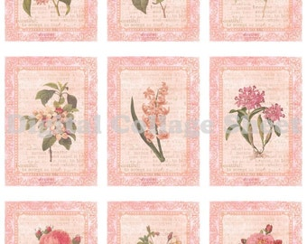 Vintage pink flowers ATC ACEO cards no 010 collage scrap sheet Buy 3 Get 4th Free