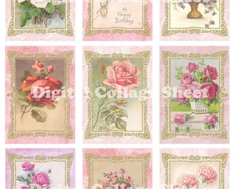 Vintage Flowers no 024 ATC ACEO cards digital Collage scrap sheet Buy 3 Get 1 free
