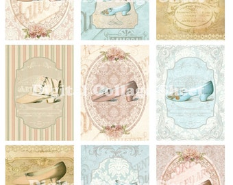 Vintage Shoes from Paris no 023 ATC ACEO cards digital Collage scrap sheet Buy 3 Get 1 free