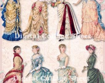 Bustle Dresses 01 vintage ladies ATC ACEO scrap collage sheet paper doll png files