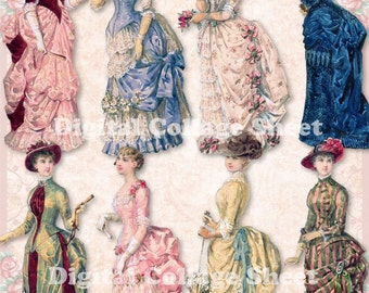 Bustle Dresses 02 vintage ladies ATC ACEO scrap collage sheet paper doll png files