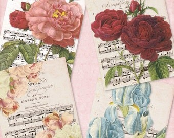 Vintage Redoute Flowers no 047 ATC ACEO cards digital Collage scrap sheet Buy 3 get 4th free