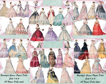 Beautiful Gowns sets 1-6 BUNDLE SAVINGS atc aceo scrap collage sheet paper doll png files