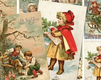 Vintage Christmas Children Postcards no.078 ATC ACEO cards digital Collage scrap sheet Buy 3 get 4th free