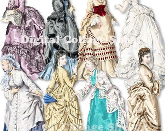 Victorian Paper Dolls 01 vintage fashion ladies ATC ACEO scrap collage sheet png files