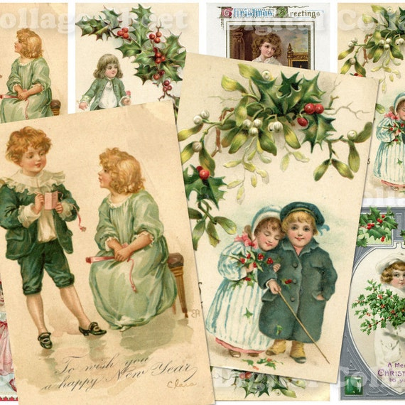 Vintage Christmas Children Postcards no.081 ATC ACEO cards digital Collage scrap sheet Buy 3 get 4th free