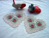 Victorian Heart 'N' Roses Crochet Lace Thread Art Set of 2 Doilies Reserved for Paula19403