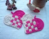 Pair of Heart Hot Pads  Crochet Art New Handmade