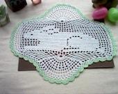 Bunny Rabbit Filet Crochet Thread Art Doily New Handmade