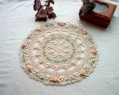 Victorian Rosebud Crochet Lace Thread Art Doily Reserved for craftsforangels