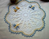 Dragonfly Hand Crochet Lace Thread Art Doily New Handmade