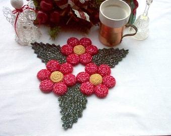 Poinsettia Flower Crochet Thread Art Hot Plate Mat/Trivet New Handmade