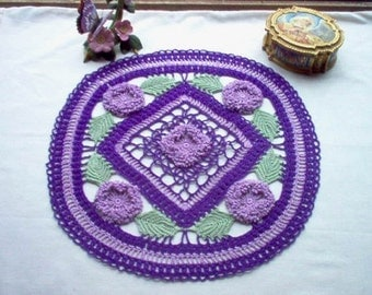 Purple Passion Treasure Vintage Style Crochet Thread Art Doily New Handmade