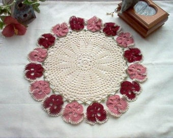Victorian Pansy 'N' Lace Crochet Thread Art Doily New Handmade