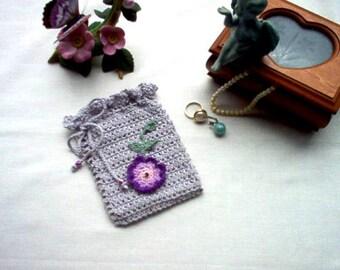 Victorian Rosette Gray Gift Bag/Sachet Lace Crochet Thread Art New Handmade