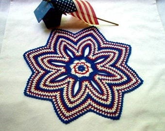 Patriotic Americana Tapestry Crochet Thread Art Doily New Handmade