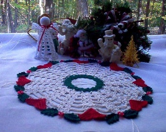 Hearts 'N' Holly Beaded New Crochet Thread Art Vintage Style Doily New Handmade