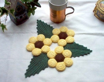 Brown Eyed Susan Hot Plate Mat Trivet Crochet Thread Art