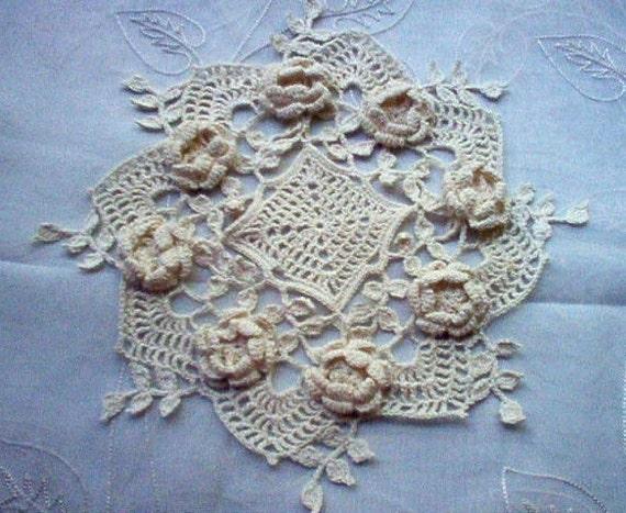 Romantic 3 D Roses Hand Crochet Lace Thread Art Doily