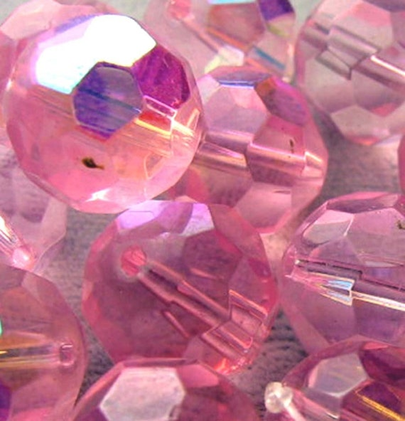 Czech Glass Beads  14mm Pink AB Crystals Firepolished Faceted New