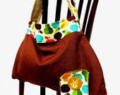 Vintage Hobo Purse / Handbag / Shoulder Bag/ Organic Re-purposed Accessories: Vintage Fruit