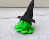 Awesome Little Octopus Witch in Green Swirls with Black Felt Hat
