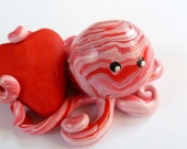 Little Love Octopus Mini Marble Friend in Pale Pink Red and Icy Pearl-Can be Personalized