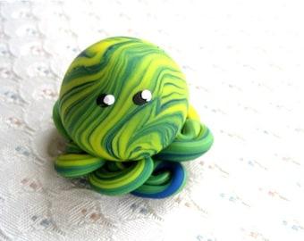 Awesome Little Octopus Mini Marble Friend in Blue Yellow Green Swirl
