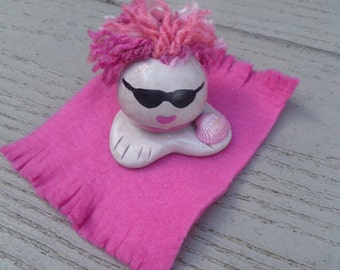 Mini Marble Friend Bathing Beauty Choose your Color Shown In Pink Beach Blanket with Pink Hair