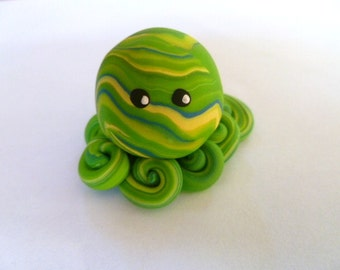 Awesome Little Octopus in Royal Blue Yellow and Lime Swirl