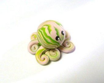 Awesome Little Octopus in Light Dusty Pink and Lime Green Swirl