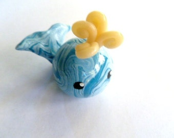 Mini Marble Friends Whimsical Spouting Whale in Turquoise Blue and light blue swirl