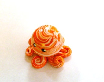 Little Octopus Mini Marble Friend in Pale Pink and Orange Swirl