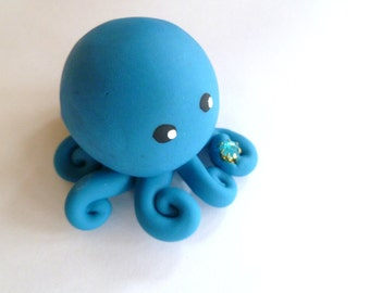 Birthstone  Little Octopus Mini Marble Friend in Birthday Month of March-Aquamarine-Turquoise with Faux Gemstone