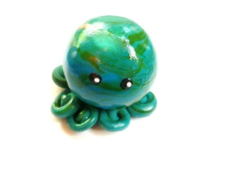 Awesome Little Octopus in Moss Green and French Blue Swirl