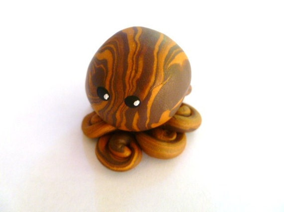 Awesome Little Octopus in Welcome to the Jungle Brown and Gold Swirl