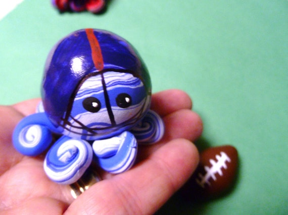 ONE Custom Mini Marble Octopus In Team Football Colors High School College or Professional with football
