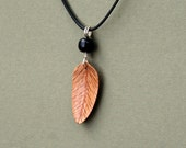 Handcarved Red Oak and Mahogany Wood Leaf / Feather Pendant