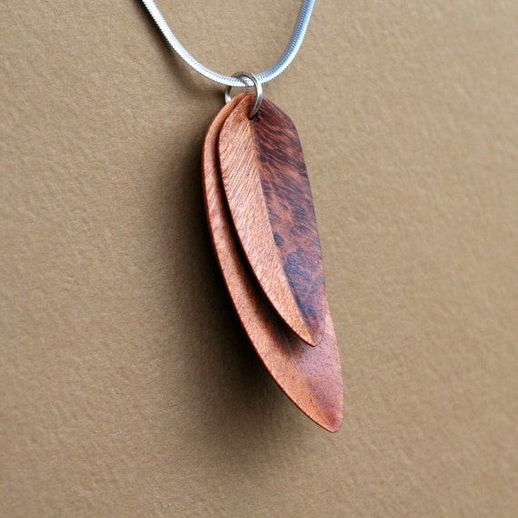 Handcarved Brazilian Redwood Double Leaf / Feather Pendant