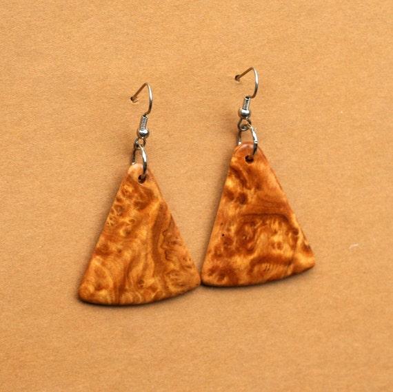 Handcarved Brown Mallee Burl Wood Earrings  J120136