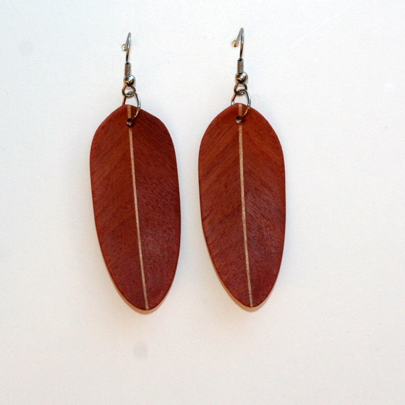 Handcarved Brazilian Redwood and Maple Wood Leaf / Feather Earrings  J120143