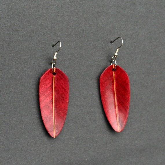 Handcarved Purple Heart and Mahogany Wood Leaf / Feather Earrings J120502